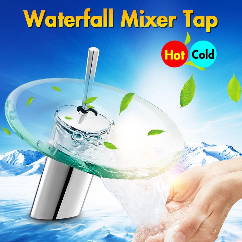 bathroom waterfall sink faucet mixer tap polished glass with hot and cold water inlet tube washbasin basin vessel round single lever kitchen solid