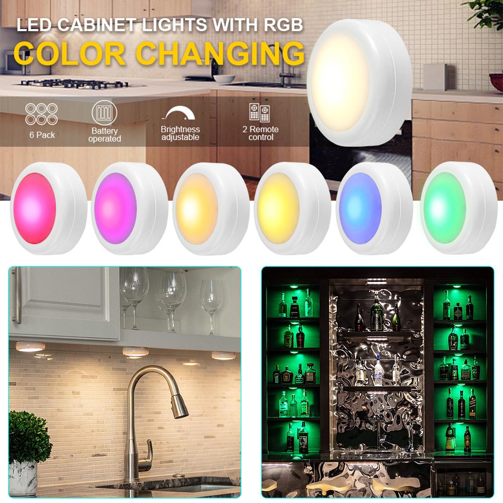 wireless color changing led puck light with remote controls led under cabinet battery powered stick on lights buy at a low prices on joom e commerce