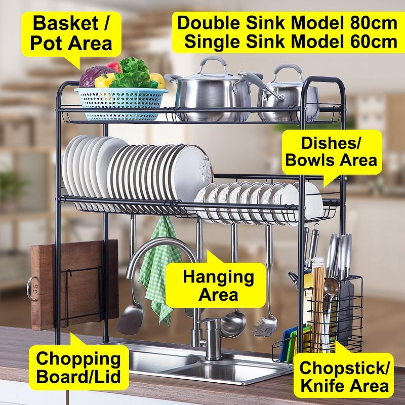 all in one 60cm 80cm versatile functional organizer kitchen over sink dish drying holder rack buy at a low prices on joom e commerce platform