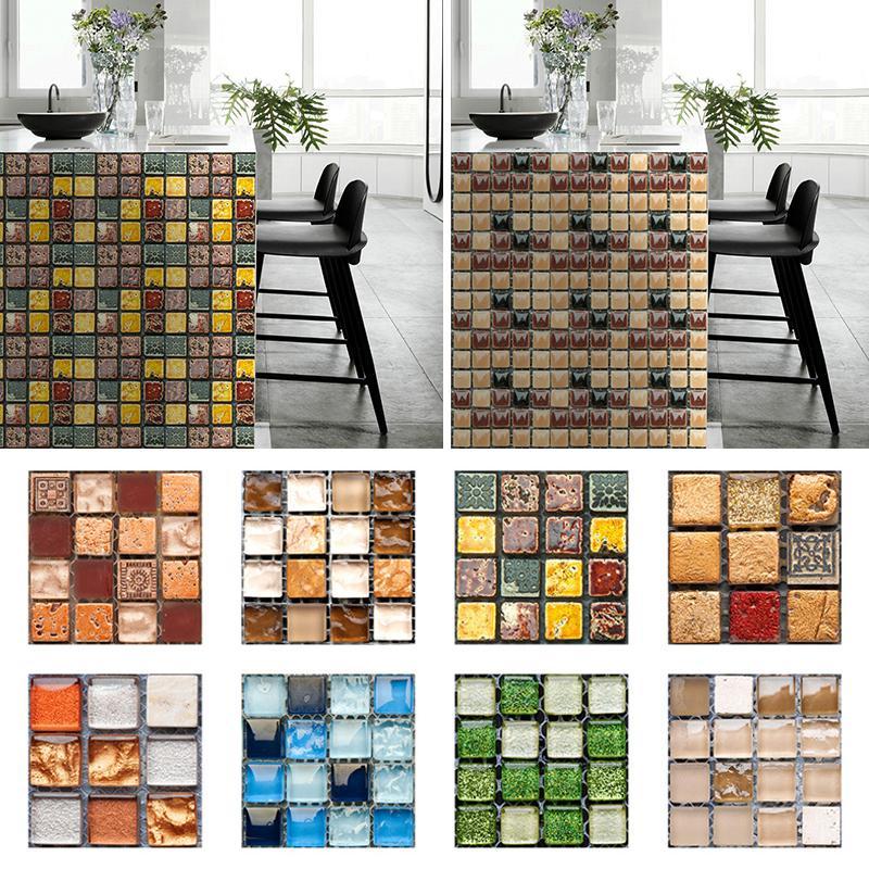 10pcs 3d waterproof vinyl mosaic tile backsplash wall sticker self adhesive home decor wall decal buy at a low prices on joom e commerce platform