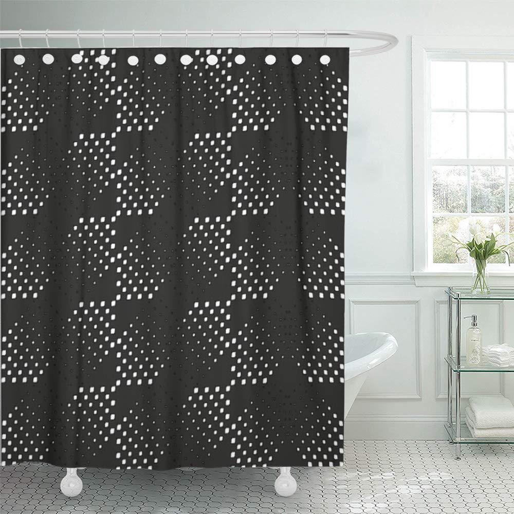 polka diagonal pattern black and white halftone abstract bubble circle creative dot bath shower curtain 66x72inch 165x180cm