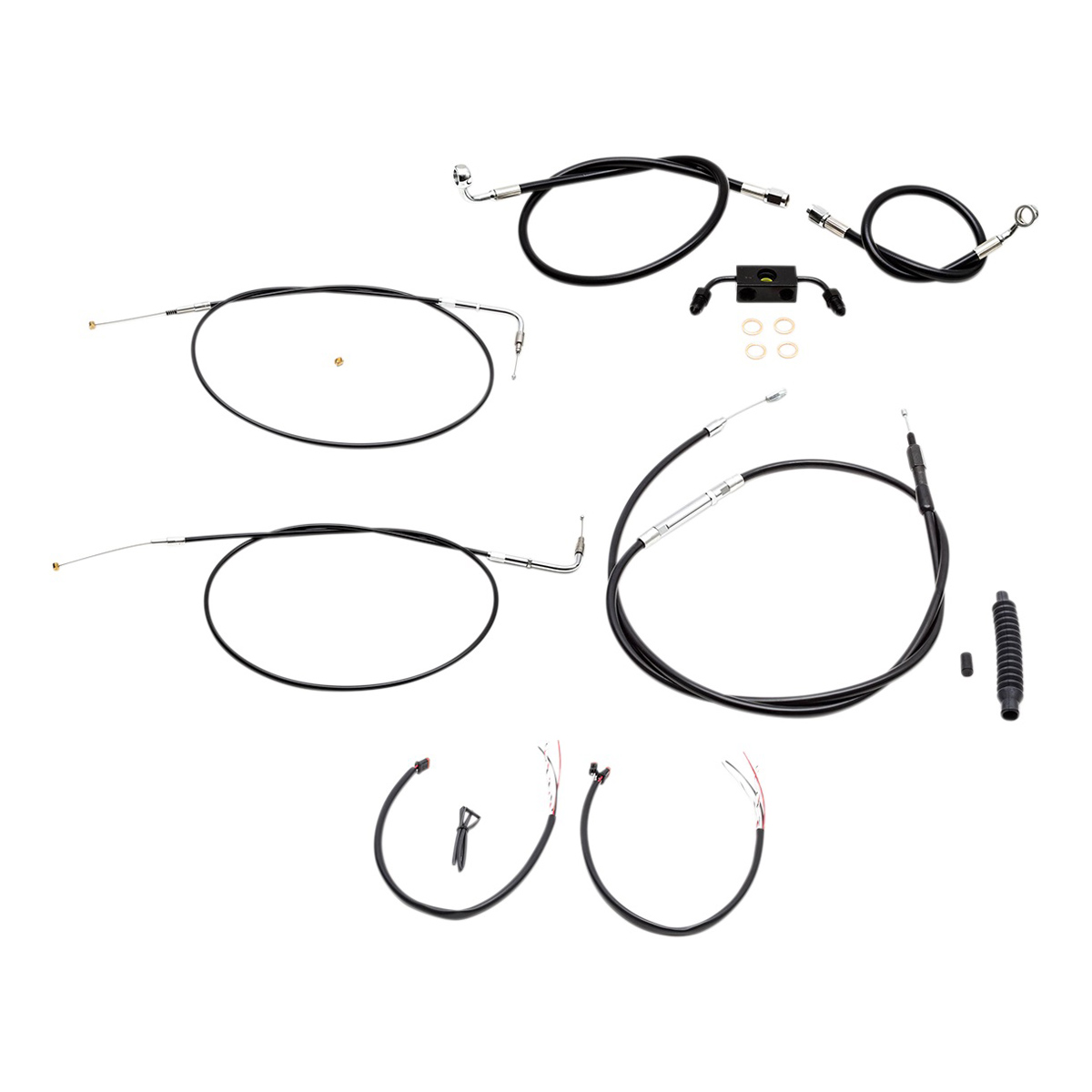La Choppers Black Complete Cable Line Wiring Handlebar Kit For 12 14 Bars On Models With Abs
