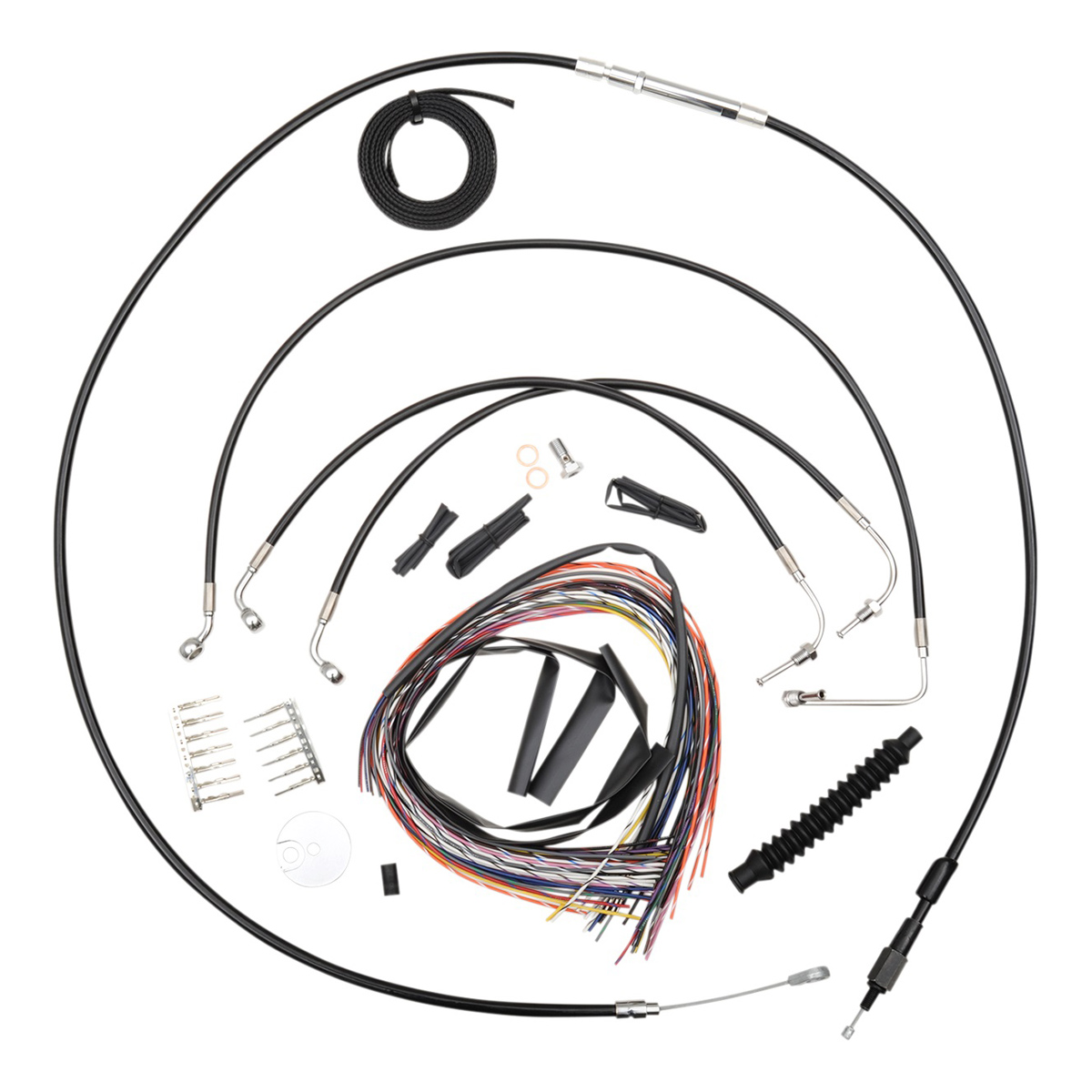 La Choppers Black Complete Cable Line Wiring Handlebar Kit For 18 20 Bars On Models Without
