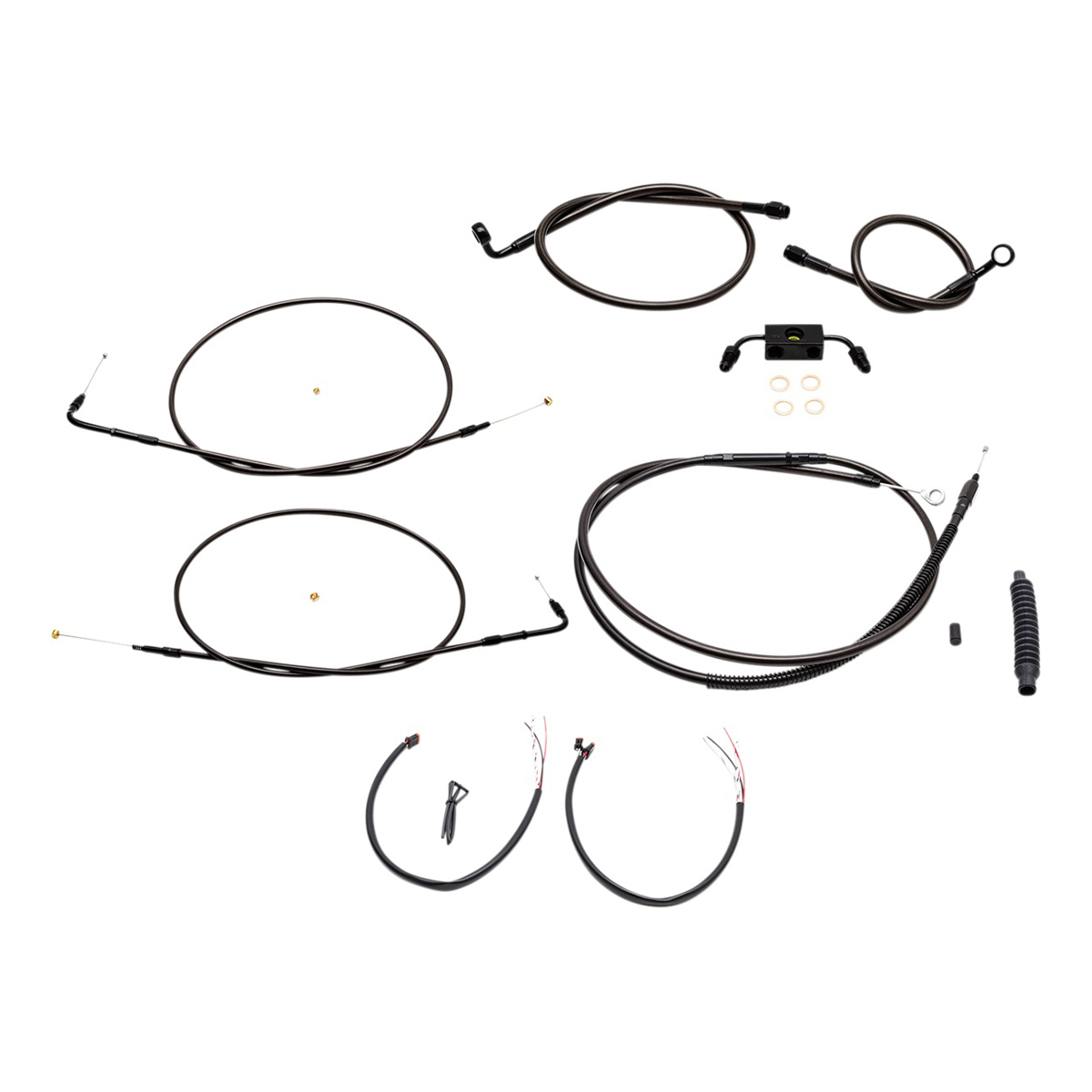 La Choppers Midnight Complete Cable Line Wiring Handlebar Kit For 15 17 Bars On Models With