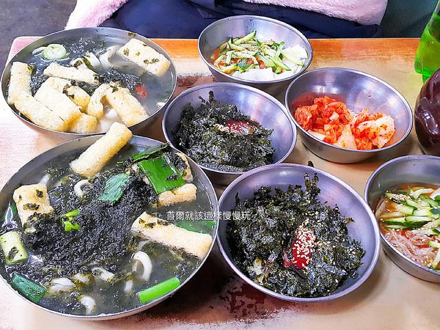 【韓國美食】會賢站(南大門市場)\韓順子奶奶手工刀切麵,刀切麵、紫菜麥飯、水冷麵,一次給你三重滿足,俗又大碗,24小時營業,這裡也是一個人美食餐廳哦!