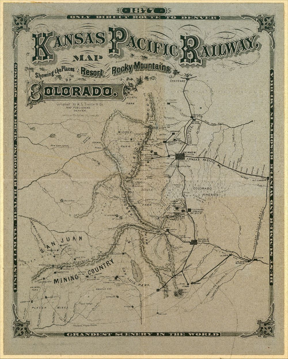 Kansas Pacific Railway map of Colorado   Kansas Memory   Kansas     Kansas Pacific Railway map of Colorado