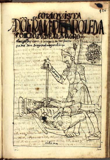 La muerte de don Francisco Pizarro por don Diego de Almagro, el hijo mestizo de su antiguo aliado (pág. 412)