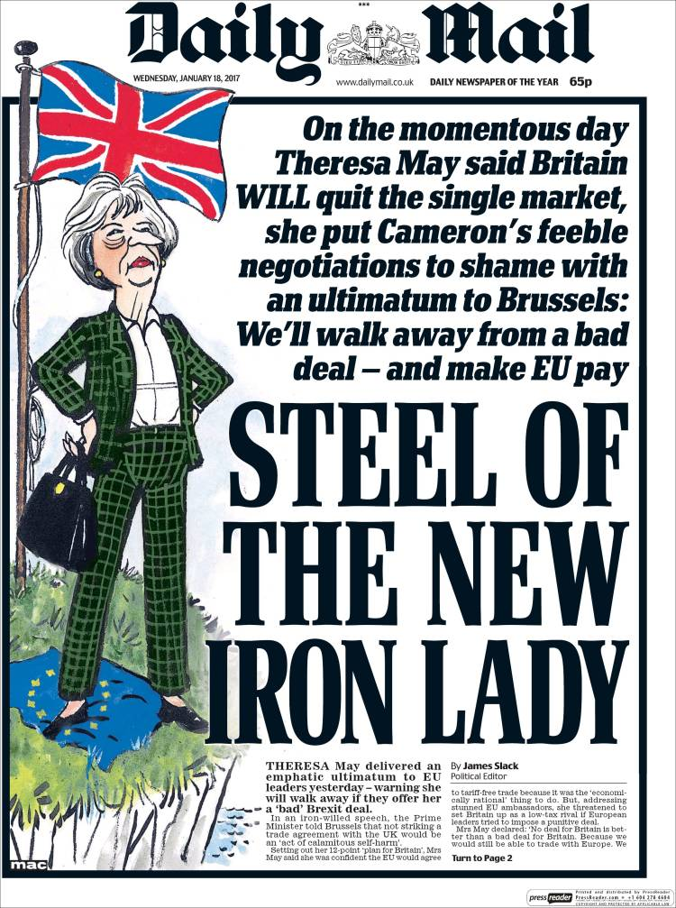 The Daily Mail on Theresa May, 18 January 2017