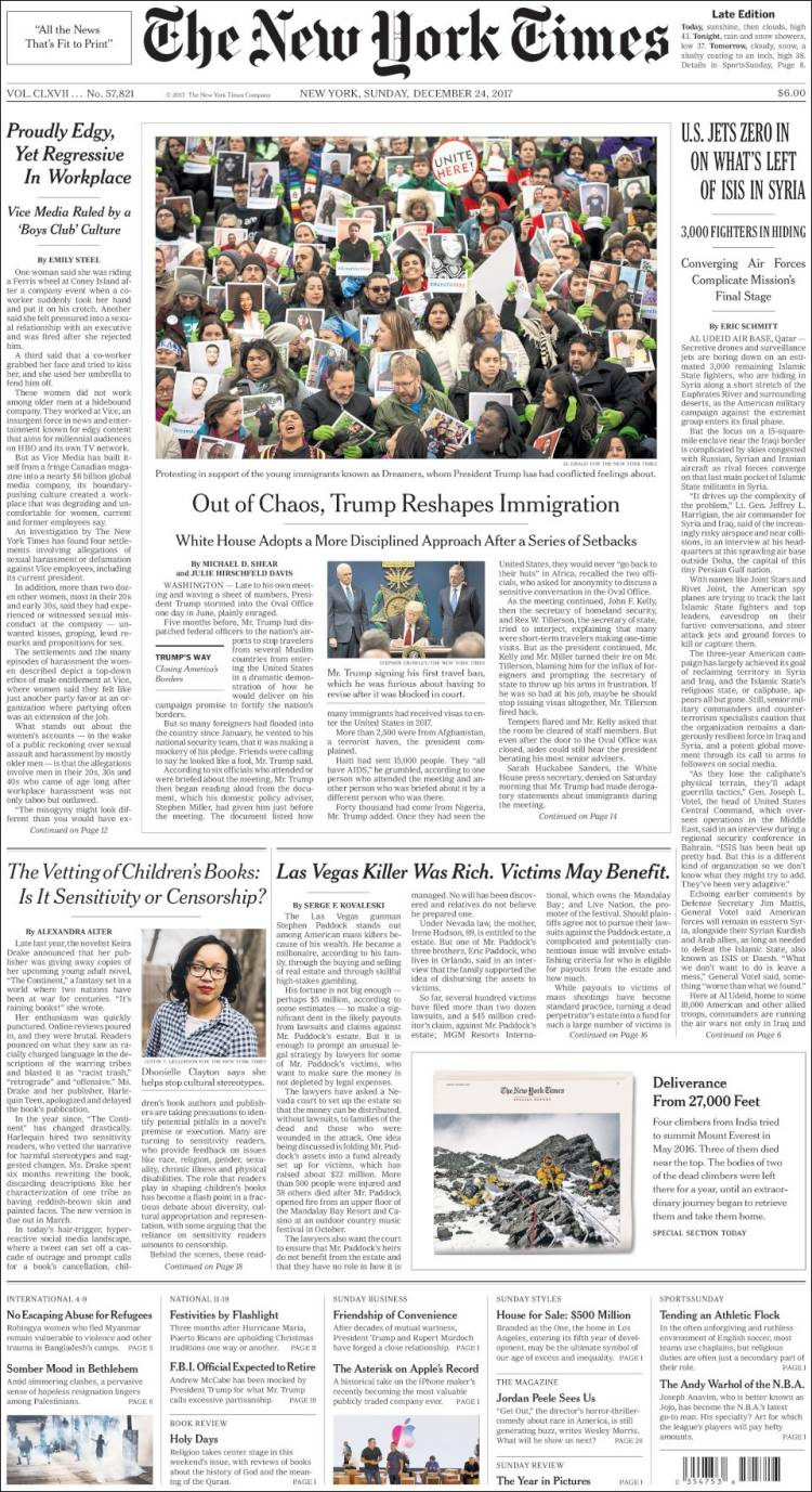 Portada de New York Times (USA)