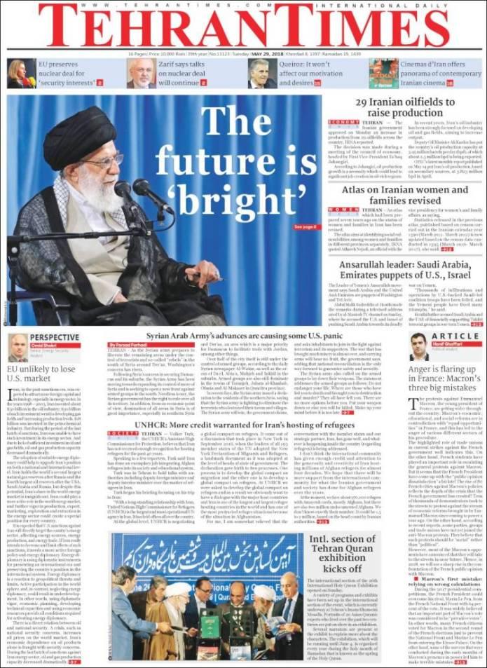 Portada de TehranTimes (Iran)