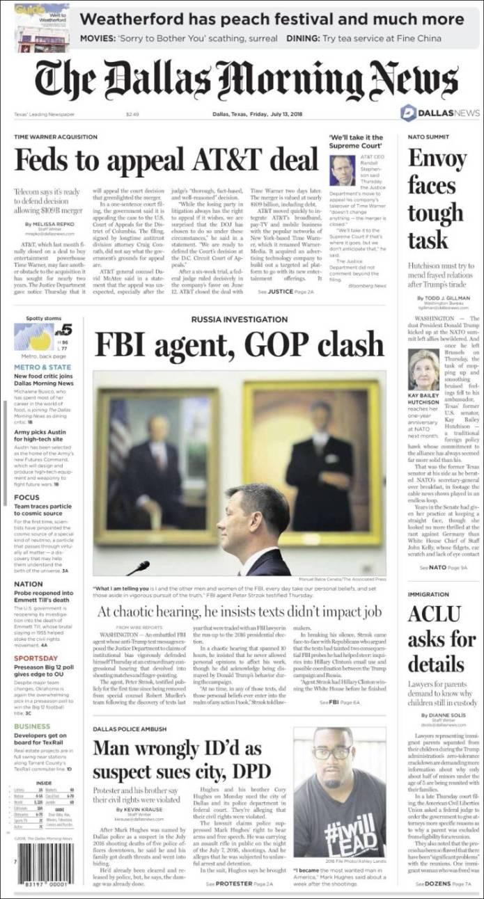 Portada de Dallas Morning News (USA)
