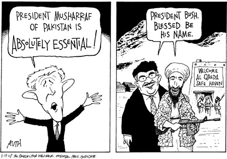 Pakistani dictator Musharraf of Pakistan and Bush, cartoon