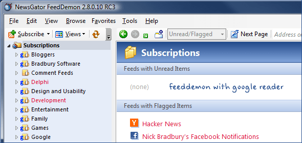 feeddemon with google reader