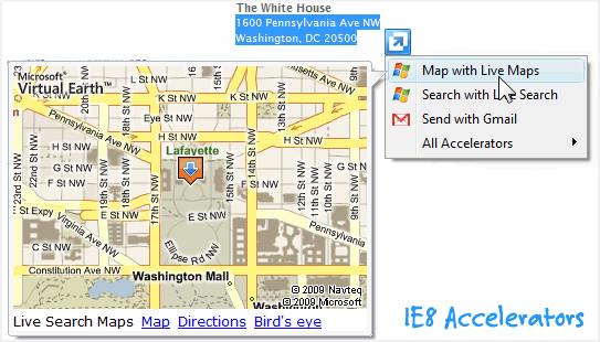 ie8 accelerator screenshot