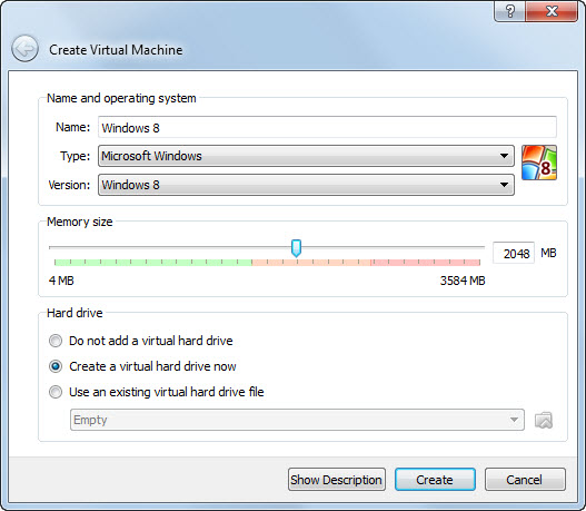 Windows 8 Virtual Machine