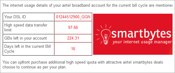 airtel internet usage