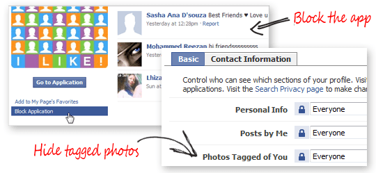 block photo applications on Facebook