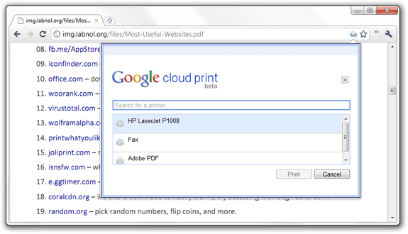 Google Cloud Print without Phone