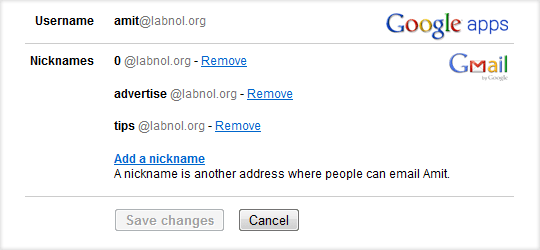 how to change gmail accounts name in admin