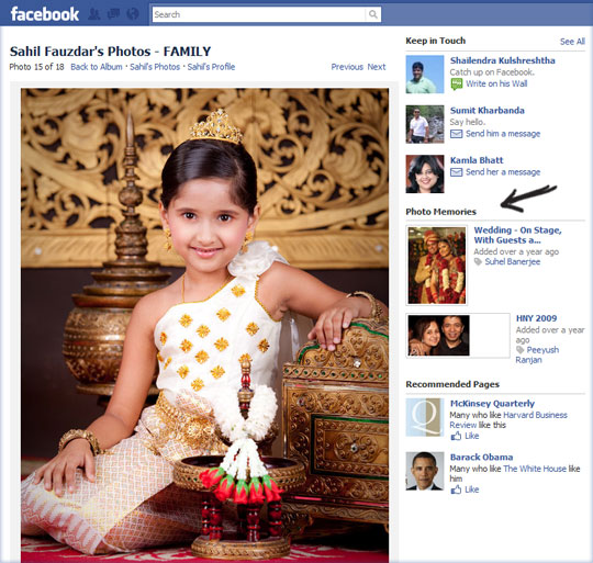 Photo Memories in Facebook