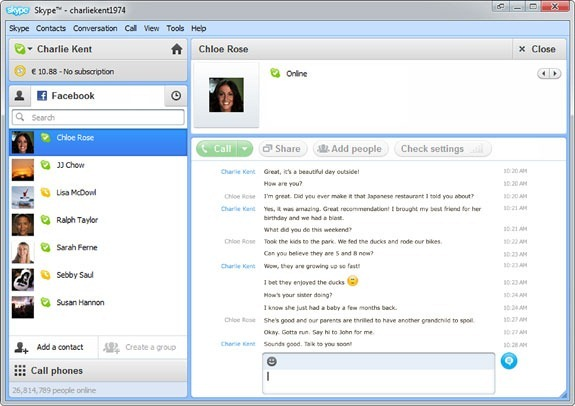 Facebook chat with Skype