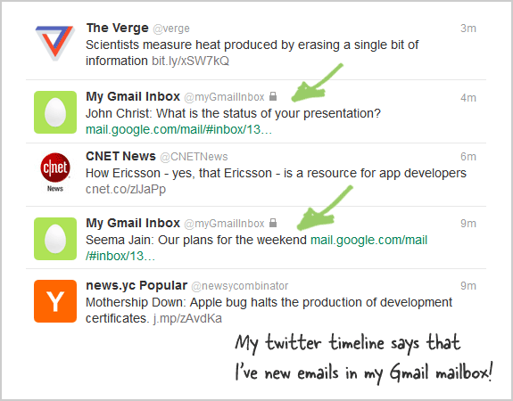 gmail messages in twitter timeline