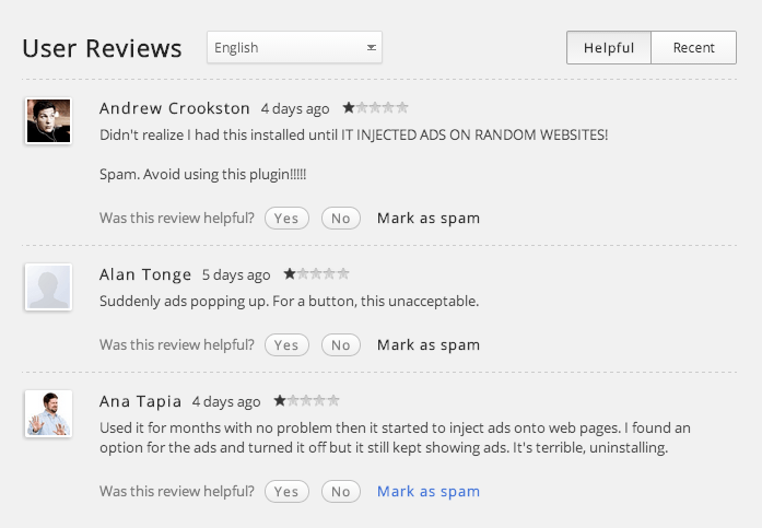 The user ratings of the Chrome extension are headed south.
