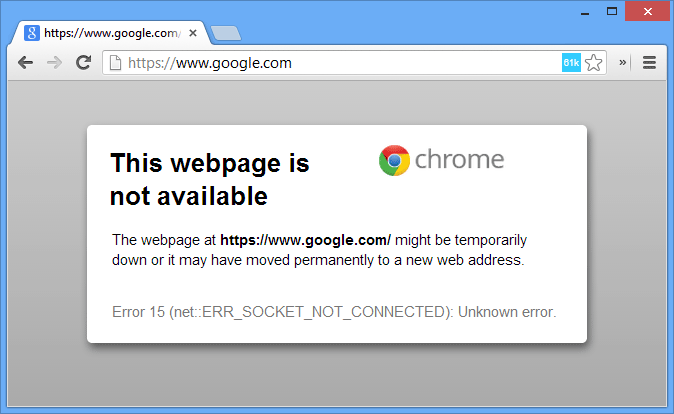 Google Chrome - Socket Error