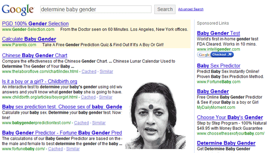 Baby Gender Ads in Google US