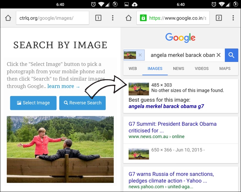Find related images with Google Images on a mobile device.