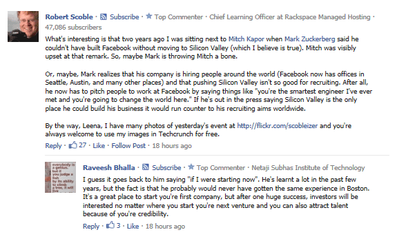 scobleizer Facebook comment