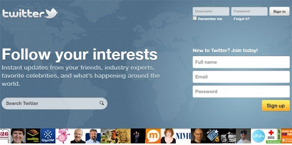 twitter sign-up /homepage