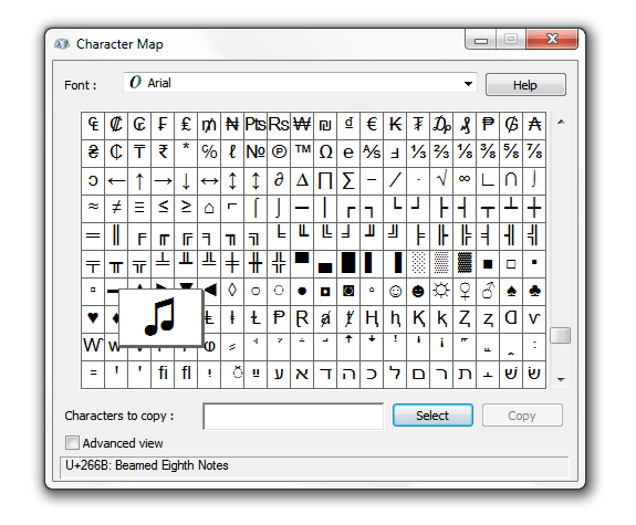 unicode character map