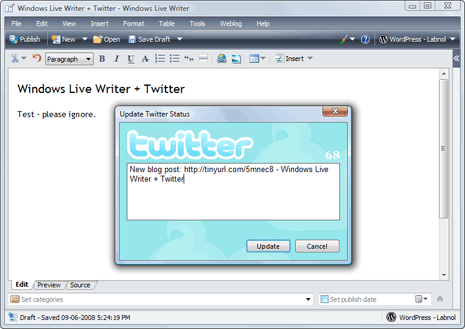 twitter windows live writer