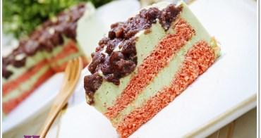 食譜 》紅豆抹茶慕斯紅蛋糕。美極了的慕斯蛋糕,好吃又賞心悅目