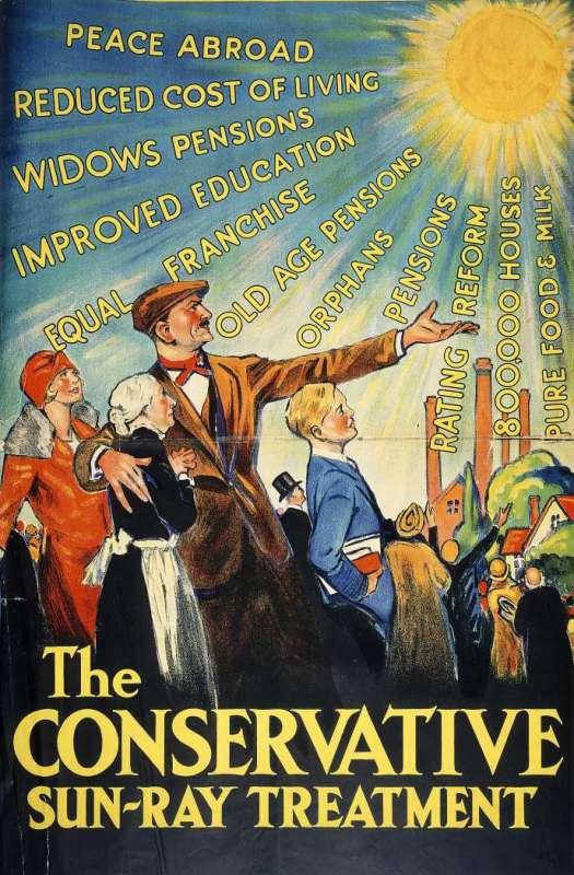 Affiche du Parti conservateur britannique, en 1929.