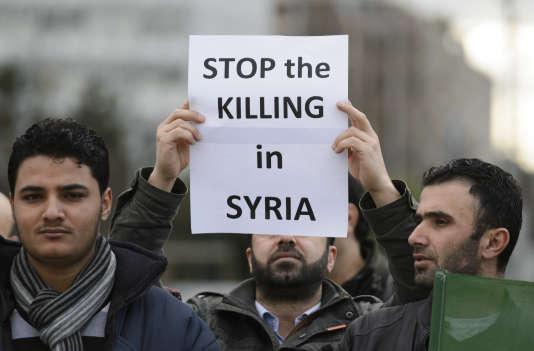 Manifestation contre le régime de Bachar Al-Assad, le 29 janvier 2016, à Genève.