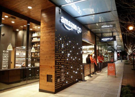 La façade du magasin Amazon Go de Seattle, le 5 décembre 2016.