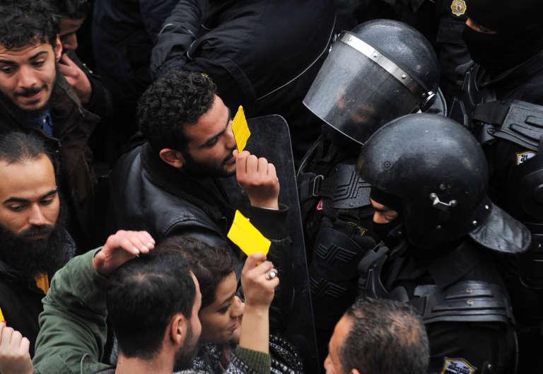 Lors d'une manifestation contre la hausse des prix, le 12 janvier 2018, à Tunis.