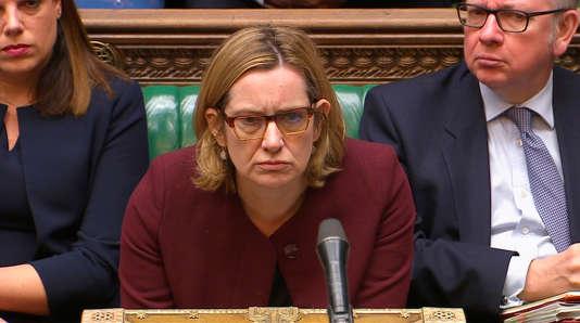 La ministre de l'intérieur britannique Amber Rudd le 26 avril à la chambre des communes, à Londres.