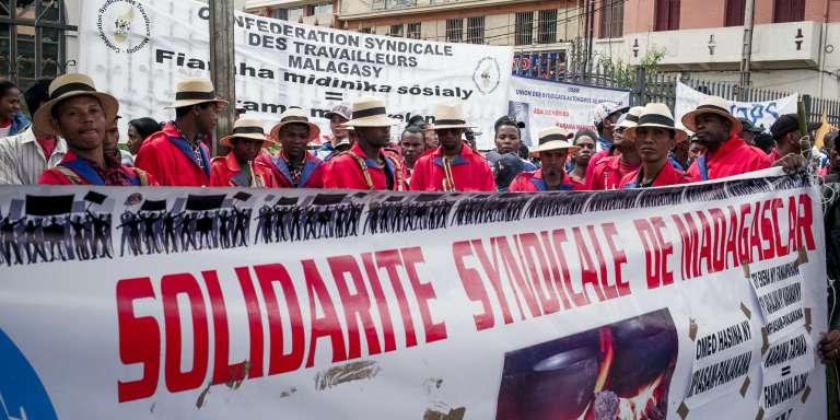 Manifestation syndicale à l'occasion du 1er mai 2018 à Antananarivo.