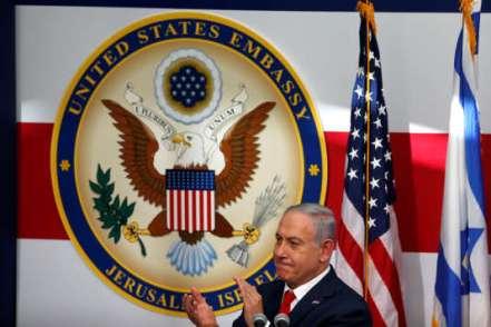 Le premier ministre israélien, Benyamin Nétanyahou, lors de l'inauguration de l'ambassade des Etats-Unis à Jérusalem.