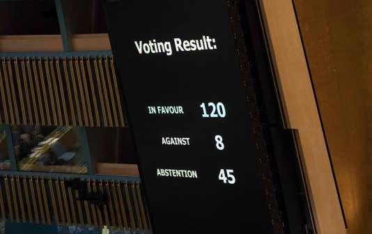 Les résultats du vote sur le texte condamnant Israël pour la flambée de violences meurtières à Gaza, lors de l'Assemblée générale des Nations unies, le 13 juin.