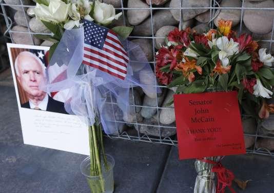 Impromptu Memorial at Senator John McCain's office on August 26 in Arizona.
