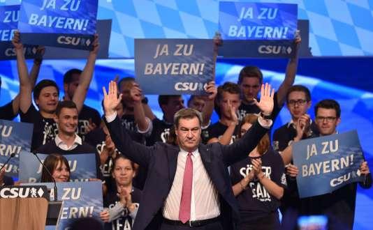 Markus Söder, ministre-président de Bavière, après son discours.