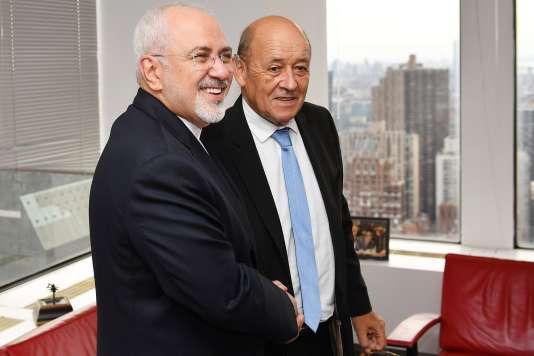 Jean-Yves Le Drian et Mohammad Javad Zarif à l'ONU, le 24 septembre.