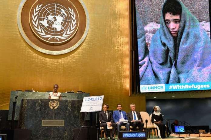 Alek Wek, d'origine soudanaise et ambassadrice de bonne volonté duHaut-Commissariat des Nations unies pour les réfugiés, à l'ONU,à New York, le 16 septembre 2016.