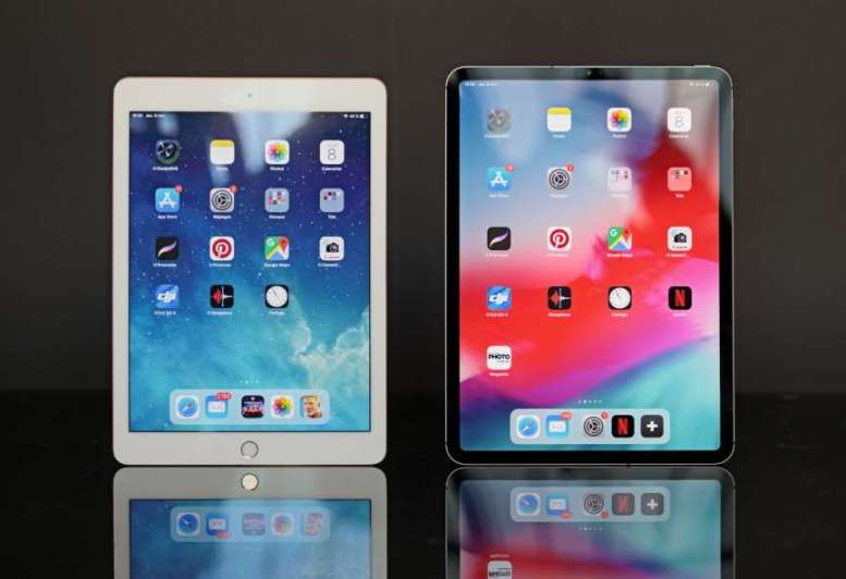 L'excellent iPad Air 2 sorti en 2014 à côté du tout nouvel iPad Pro 11.