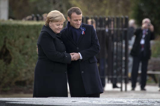 Emmanuel Macron, President of the Republic and Angela Merkel, Chancellor of the Federal Republic of Germany participate in a ceremony on the occasion of the centenary of the Armistice of November 11, 1918 at the Clairière de l'Armistice in Compiègne, Saturday, November 10 2018 - 2018