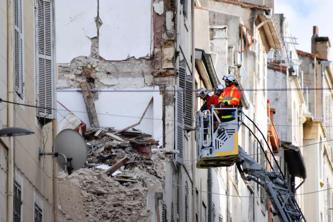 Rue d'Aubagne in Marseille, November 8, after the collapse of two buildings on November 5th.